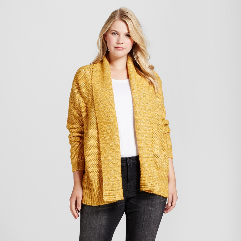 Womens Plus Size Cardigan - Ava & Viv Yellow 2X