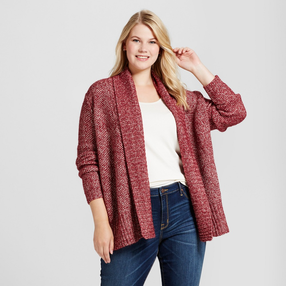 Womens Plus Size Cardigan - Ava & Viv Berry (Pink) 2X