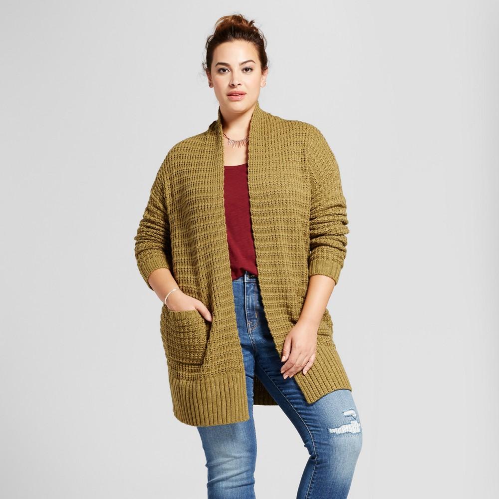Womens Plus Size Textured Cardigan - Ava & Viv Green 3X