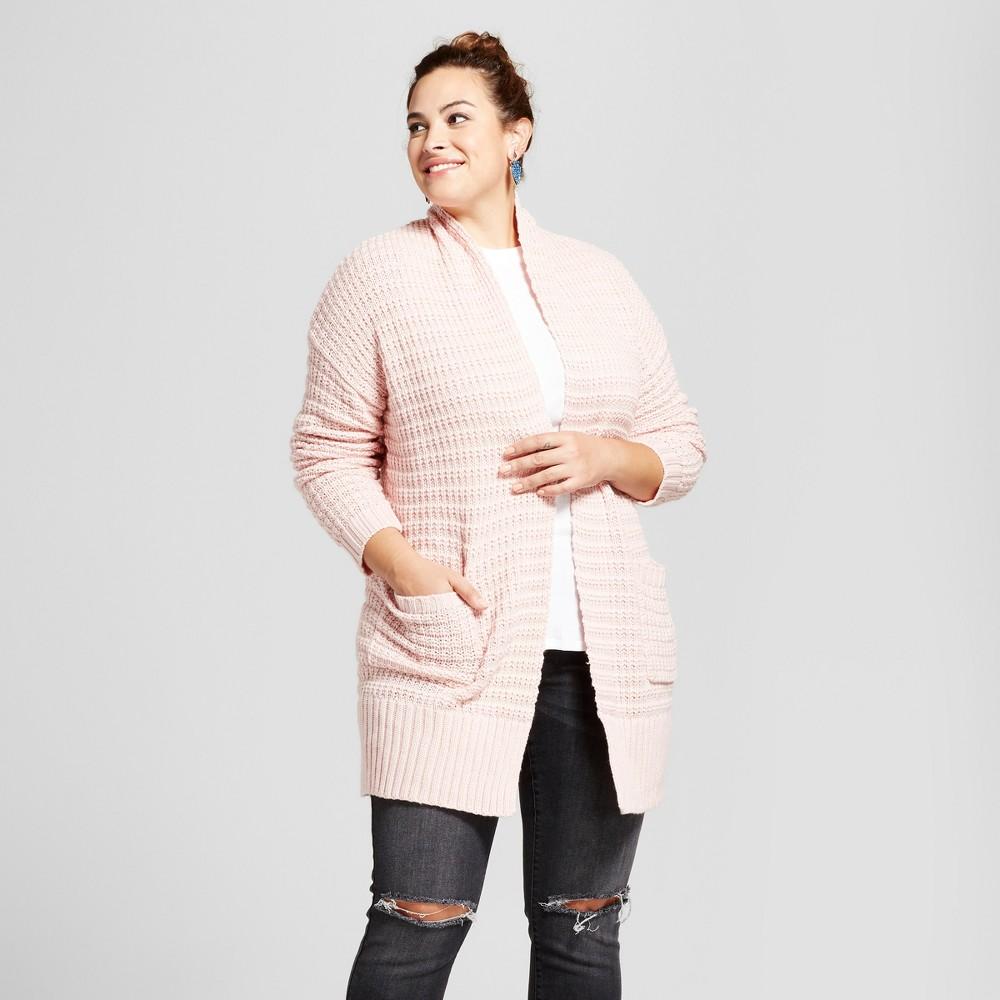 Womens Plus Size Textured Cardigan - Ava & Viv Peach (Pink) 1X