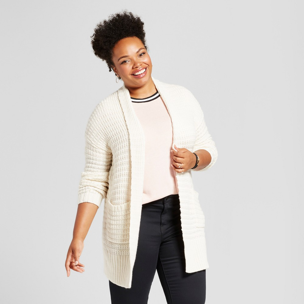 Womens Plus Size Textured Cardigan - Ava & Viv Cream (Ivory) X