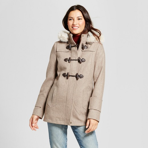 Women's Wool Toggle Coat with Faux Fur Hood - A New Day™ : Target