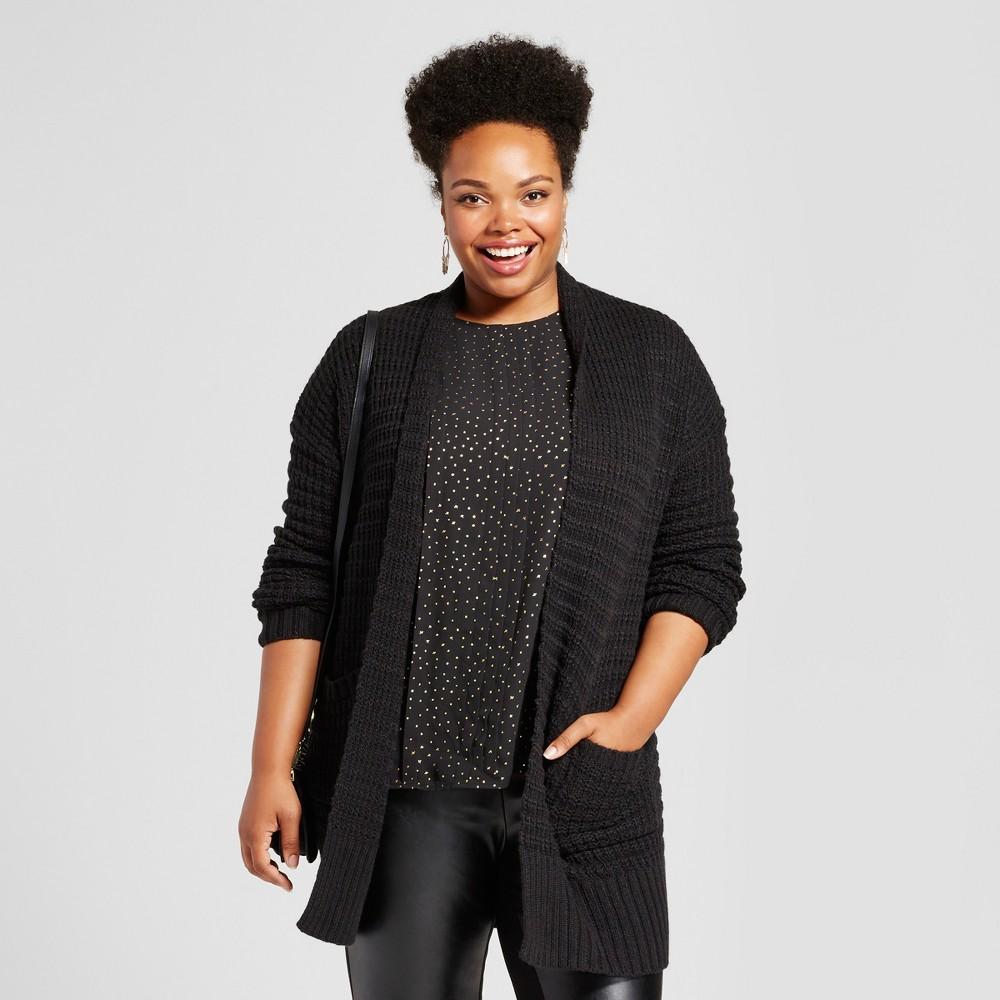 Womens Plus Size Textured Cardigan - Ava & Viv Black 1X