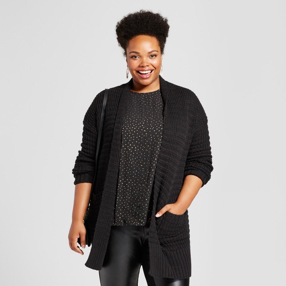 Womens Plus Size Textured Cardigan - Ava & Viv Black 4X
