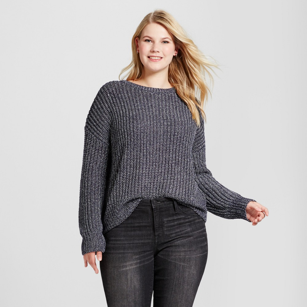 Womens Plus Size Textured Shine Pullover - Ava & Viv Navy (Blue) 2X