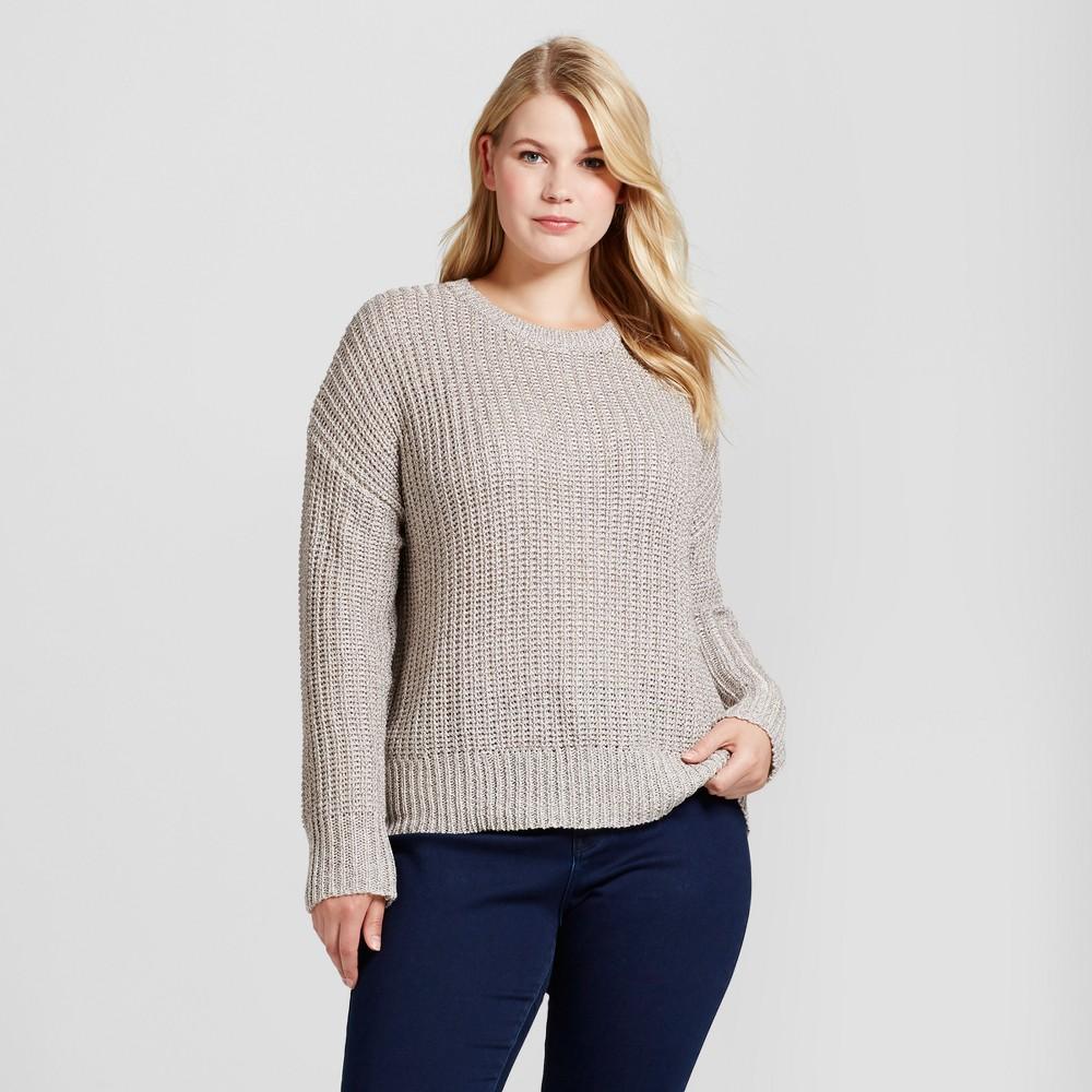 Womens Plus Size Textured Shine Pullover - Ava & Viv Blush 2X