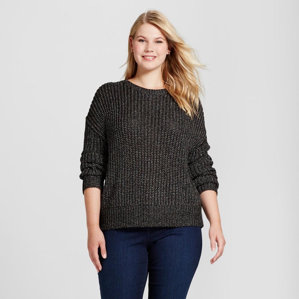 Womens Plus Size Textured Shine Pullover - Ava & Viv Black 3X