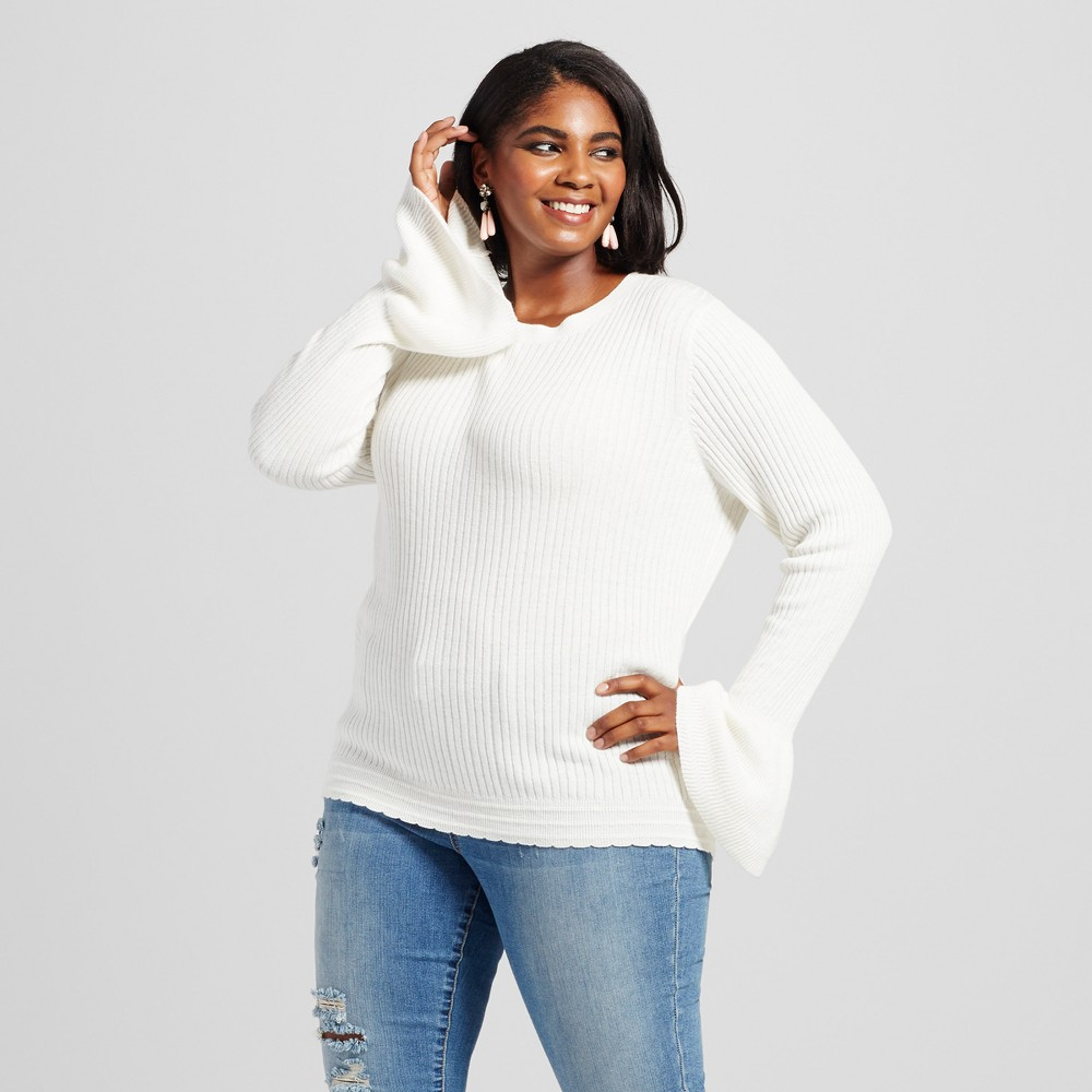 Womens Plus Size Feminine Pullover with Ruffle Sleeve - Ava & Viv Cream (Ivory) 2X