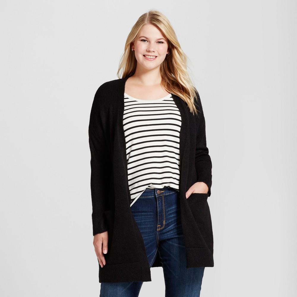 Womens Plus Size Cozy Cardigan - Ava & Viv Black 2X