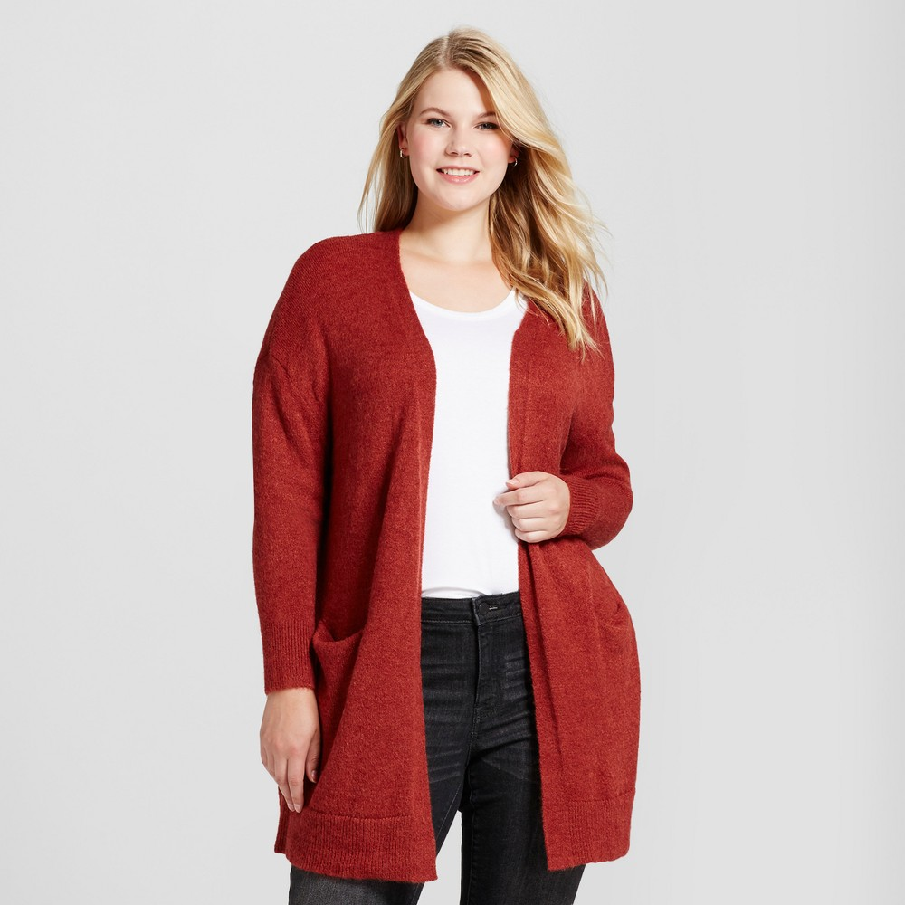 Womens Plus Size Cozy Cardigan - Ava & Viv Rust (Red) 3X