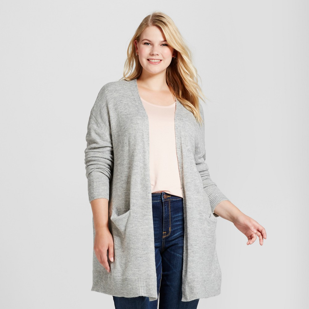 Womens Plus Size Cozy Cardigan - Ava & Viv Gray 3X