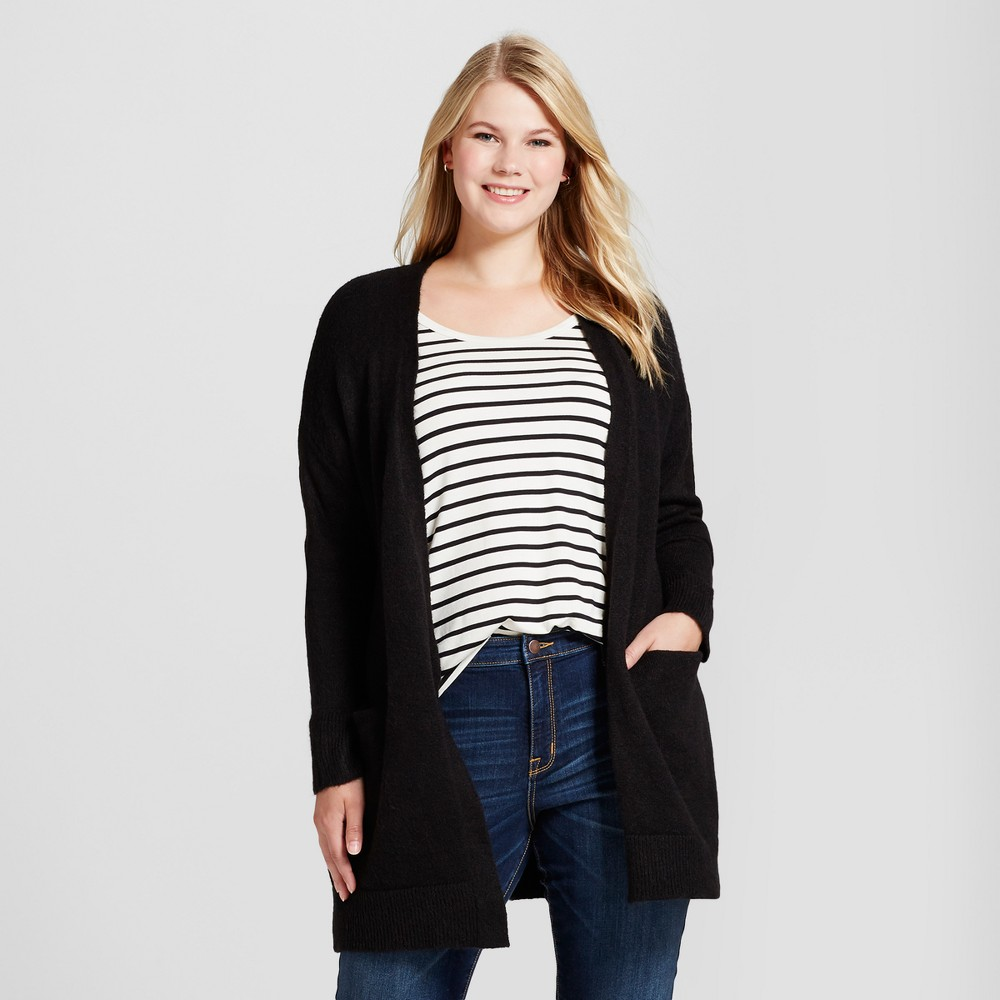Women's Plus Size Cozy Cardigan - Ava & Viv Black 4X