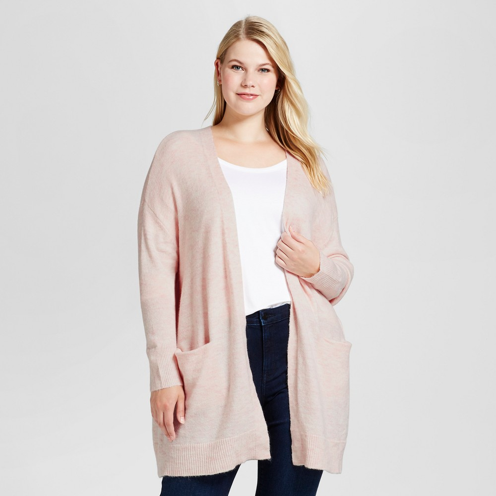 Womens Plus Size Cozy Cardigan - Ava & Viv Blush 4X
