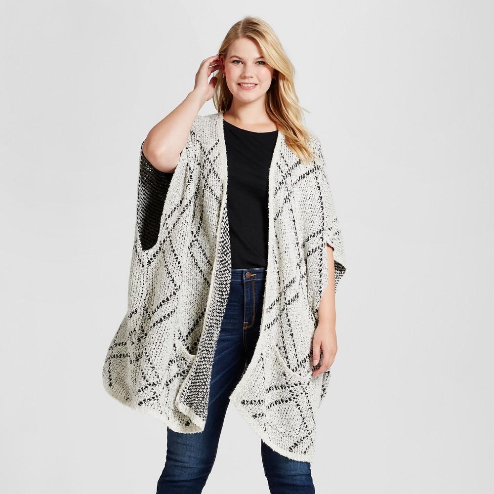 Womens Plus Size Argyle Blanket Cardigan - Ava & Viv Gray One Size