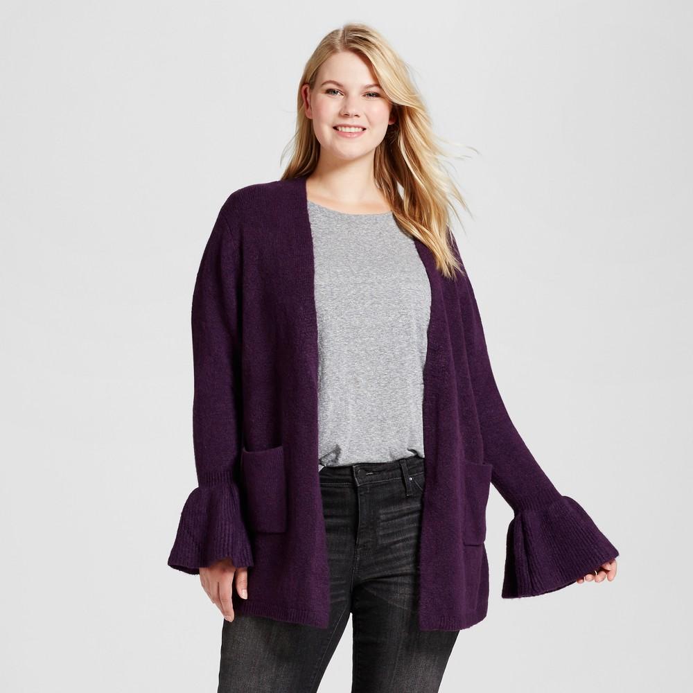Womens Plus Size Ruffle Sleeve Cardigan - Ava & Viv Purple 3X