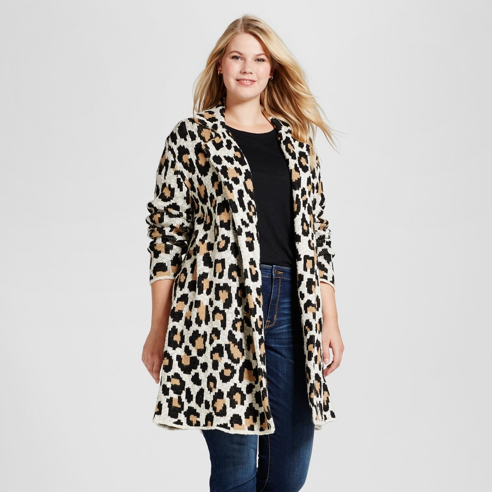 Women's Plus Size Coatigan - Ava & Viv Animal Print 1X, Beige
