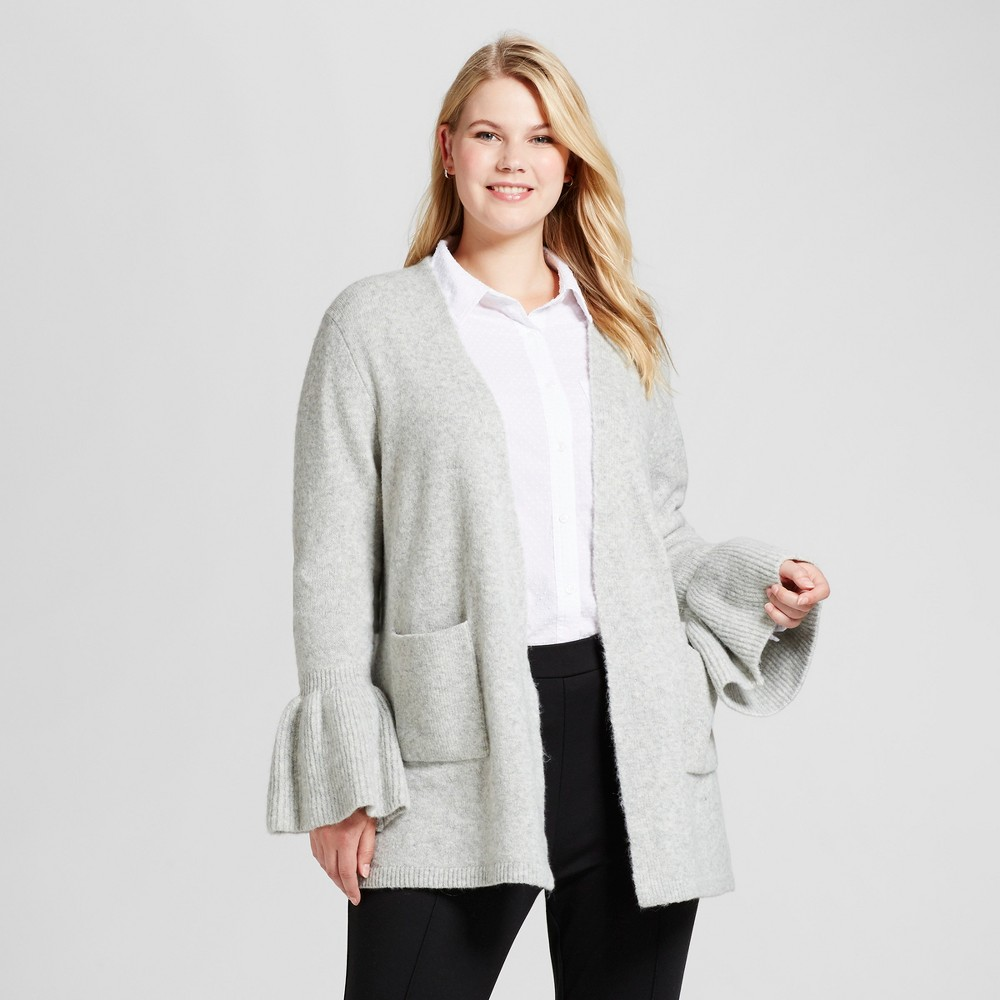 Womens Plus Size Ruffle Sleeve Cardigan - Ava & Viv Gray 1X
