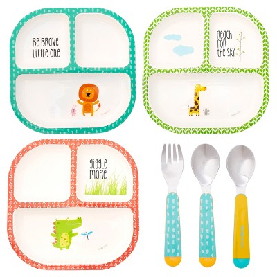 Cheeky® Baby Divided Plates -3pk and Stainless Steel Cutlery -3pk - Bundle