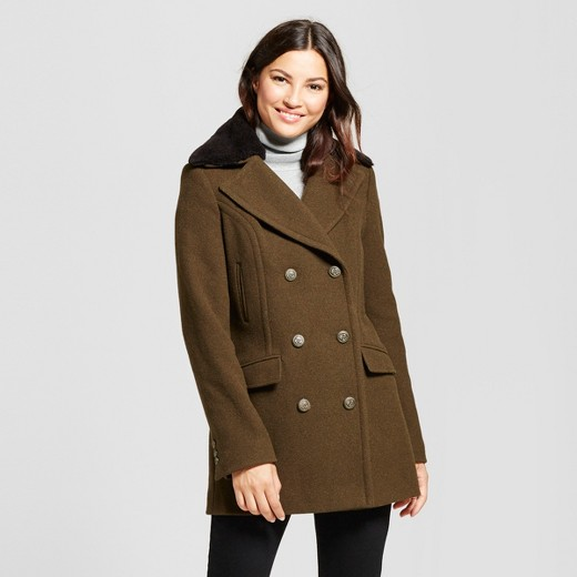 Women's Wool Military Coat with Faux Fur Collar - A New Day™ Olive ...