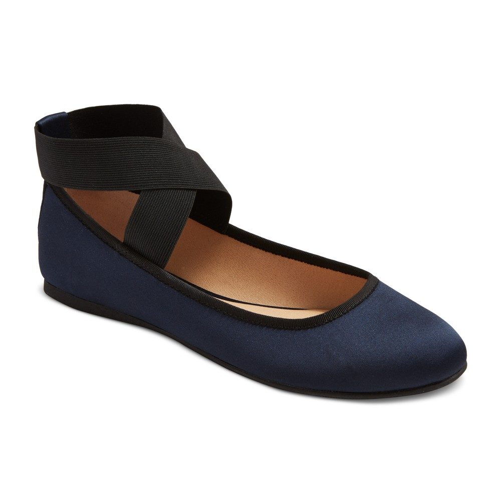 Womens Jane Elastic Ankle Wrap Ballet Flats - Mossimo Supply Co. Navy (Blue) 9