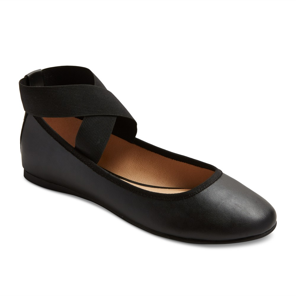 Women's Jane Wide Width Elastic Ankle Wrap Ballet Flats - Mossimo Supply Co. Black 6.5W, Size: 6.5 Wide