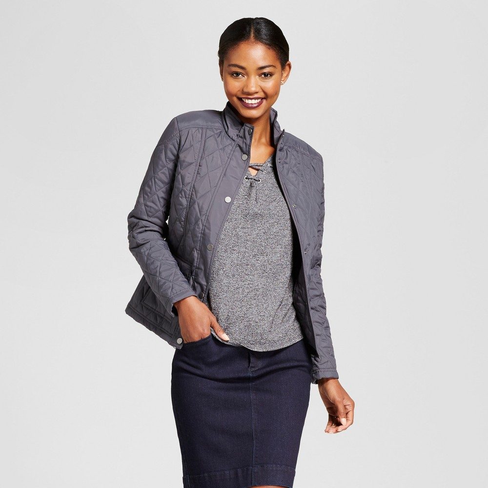 Womens Quilted Jacket - A New Day Gray M