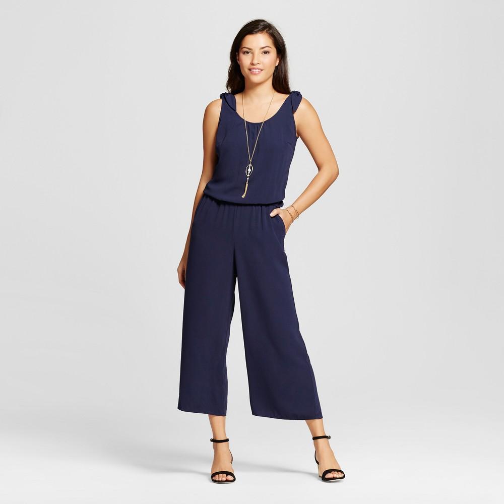 Women's Printed Crepe Jumpsuit - Merona Navy M, Blue