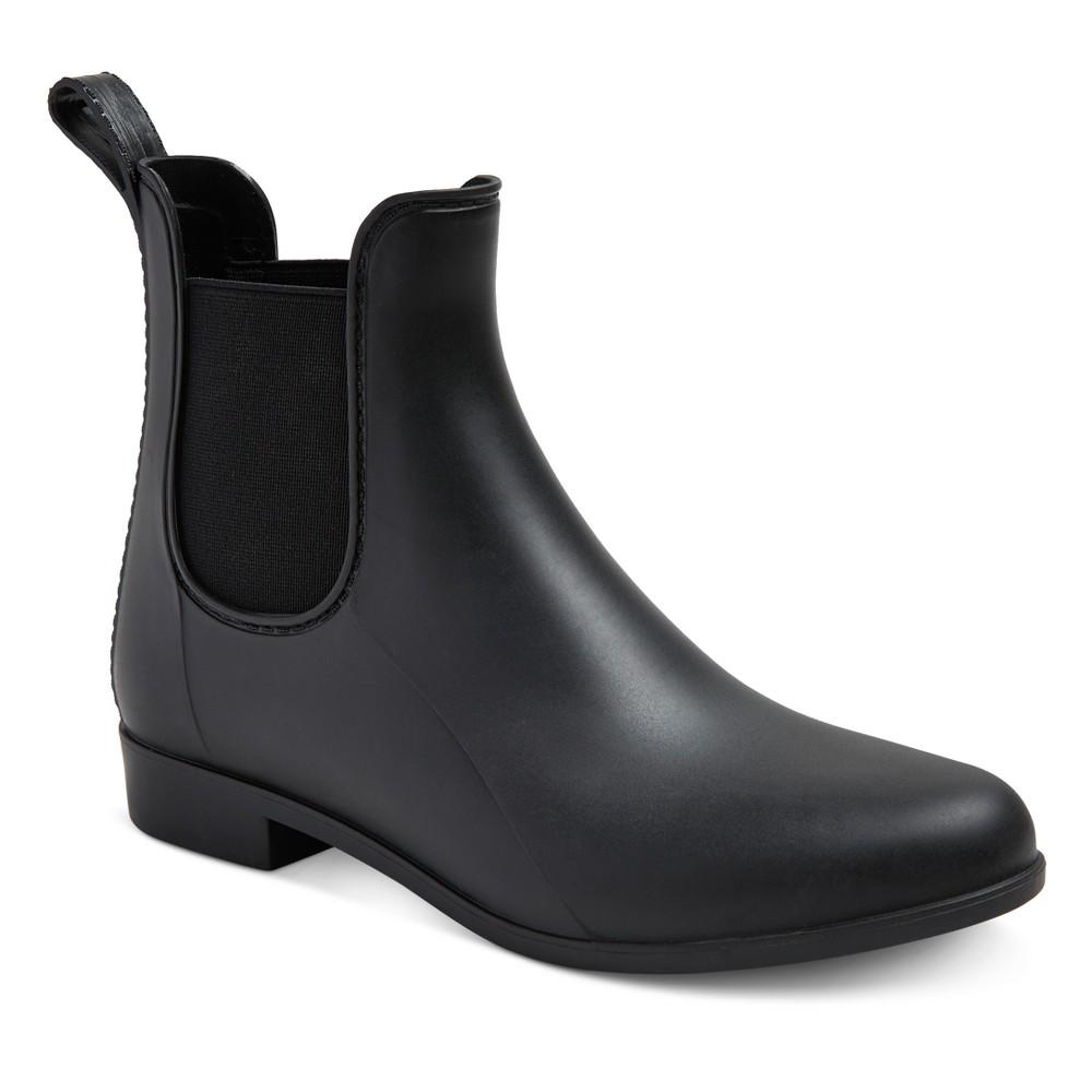 Womens Alex Wide Width Rain Boots - Merona Black 8W, Size: 8 Wide