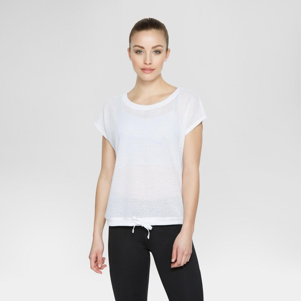 Velvet Rose Womens Short Sleeve T-Shirt with Drawstring - White S