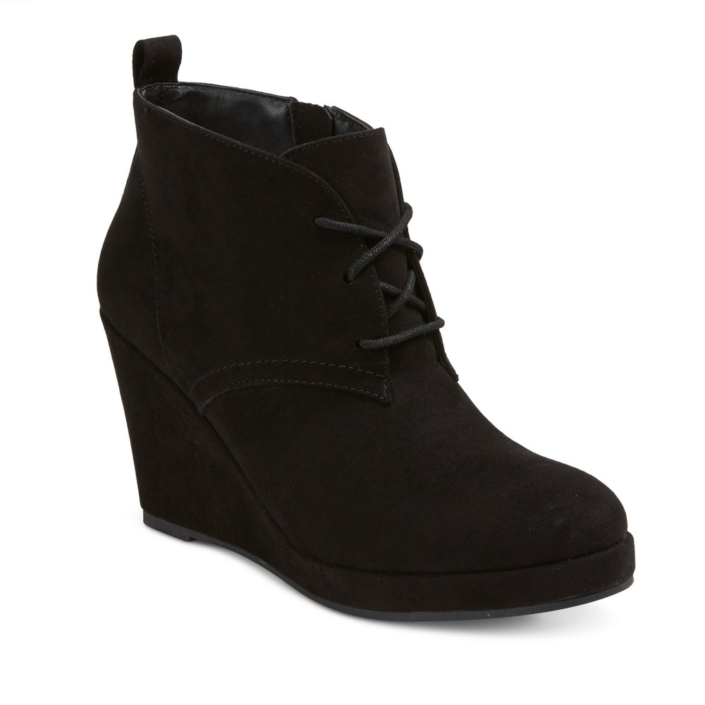 Womens Dv Terri Wide Width Lace Up Wedge Booties - Black 5.5W, Size: 5.5 Wide