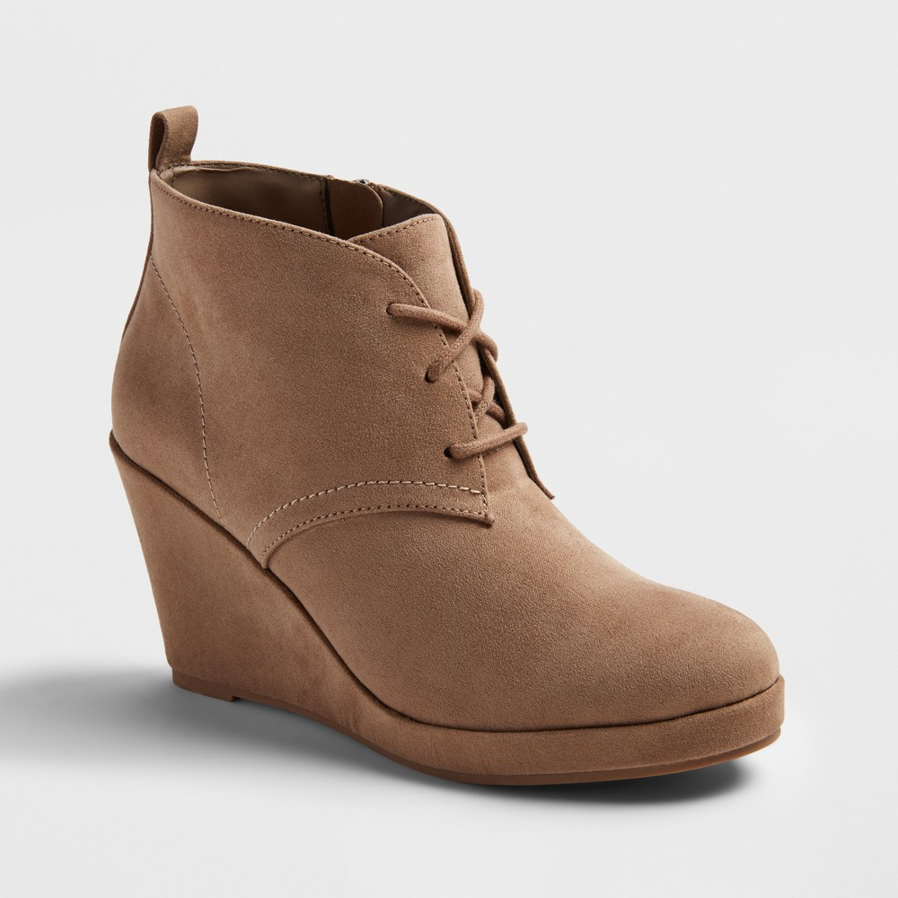 Womens Dv Terri Wide Width Lace Up Wedge Booties - Light Taupe 6W, Size: 6 Wide