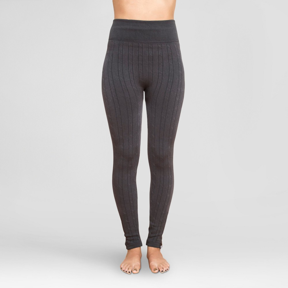 Muk Luks Women's Cable Knit Leggings - Charcoal M/L, Gray