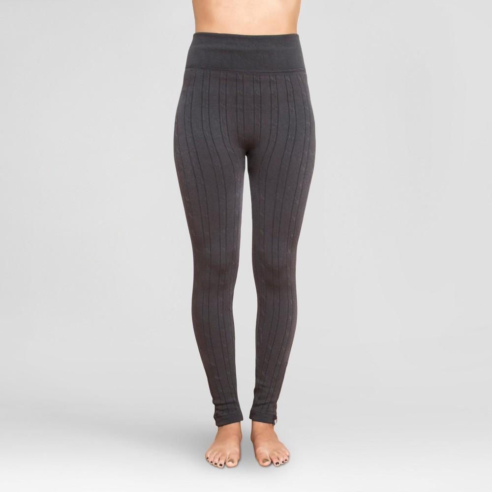 Muk Luks Women's Cable Knit Leggings - Charcoal M/L, Gray