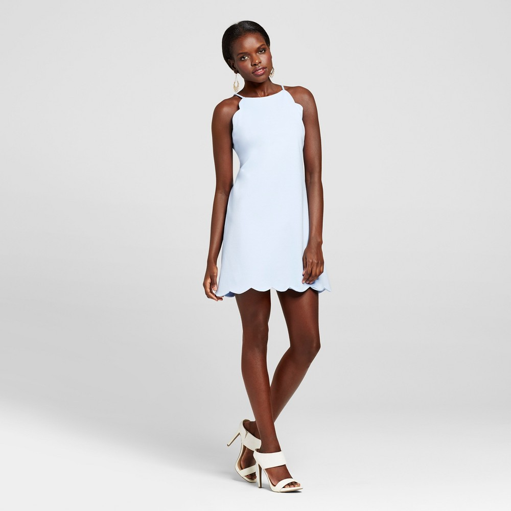Womens Scallop Halter Dress - Necessary Objects Blue S