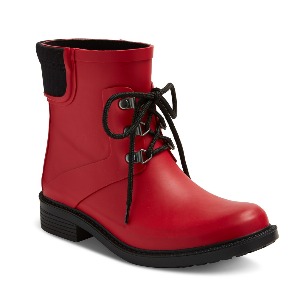 Womens Briley Rain Booties - Merona Red 10