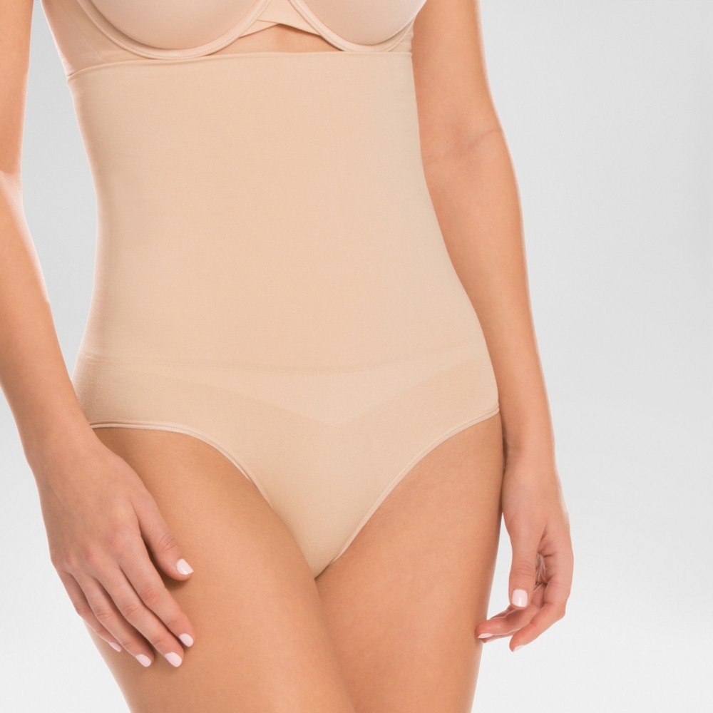 Assets by Spanx Womens Remarkable Results High Waist Control Brief - Light Beige M