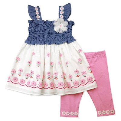 Baby Grand Signature Baby Girls' Smocking Printed Tunic and Leggings Set - Pink 0-3M
