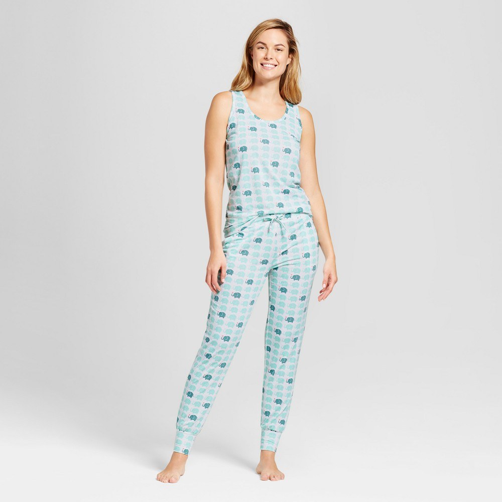 Womens Bhpj by Bedhead Pajamas Tank & Jogger Pajama Set - Elephants - White XL, Green