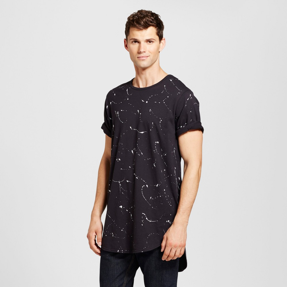 Mens Curved Hem T-Shirt Black White Splatter L - Jackson, Black/White