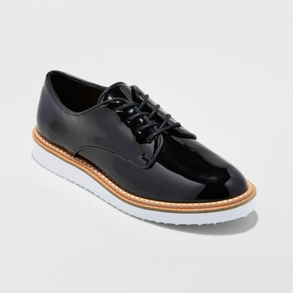 Womens Jaynee Platform Oxford Shoes - A New Day Black 6.5