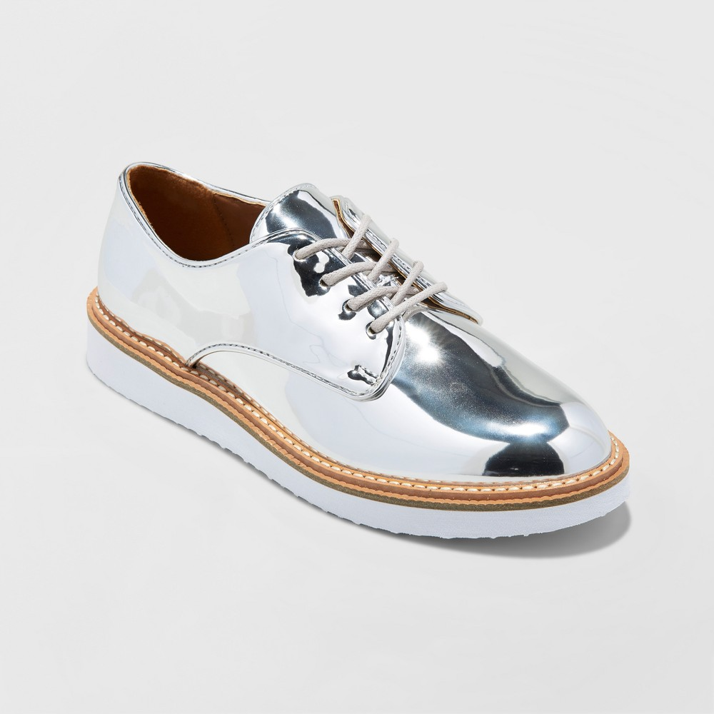 Womens Jaynee Platform Oxford Shoes - A New Day Silver 6.5
