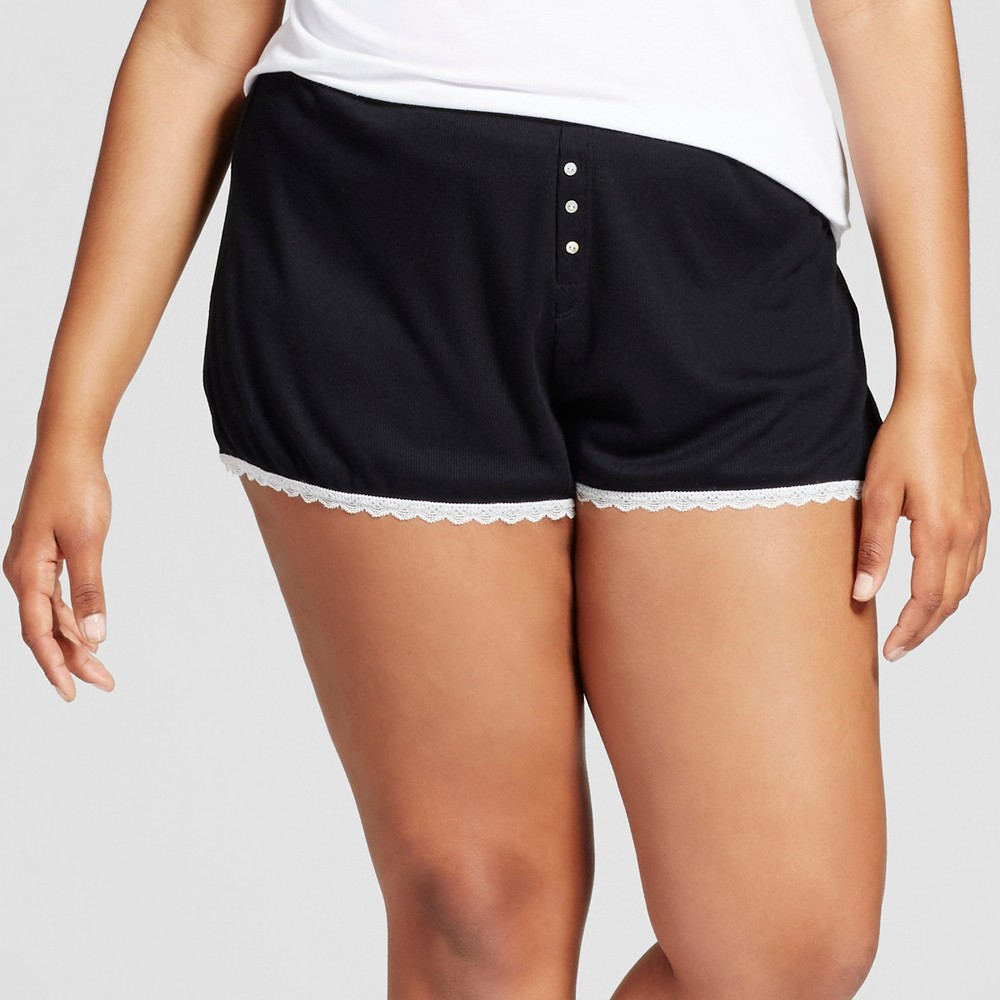 Womens Plus Size Pajama Shorts - Xhilaration Black 1X