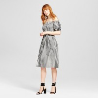 Women's Embroidered Belted Bardot Dress - Who What Wear Black Plaid. opens in a new tab.