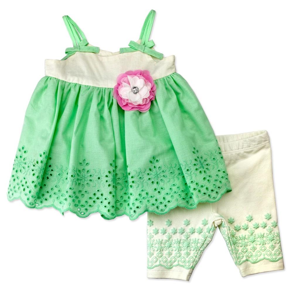 Baby Grand Signature Baby Girls Lace Eyelet Dress and Capri Leggings Set - Ivory 3-6M, Size: 3-6 M, Beige