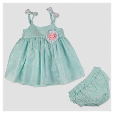 Baby Grand Signature Baby Girls' Glitter Stripe Lace Top and Ruffle Back Pantsy Set - Green 0-3M