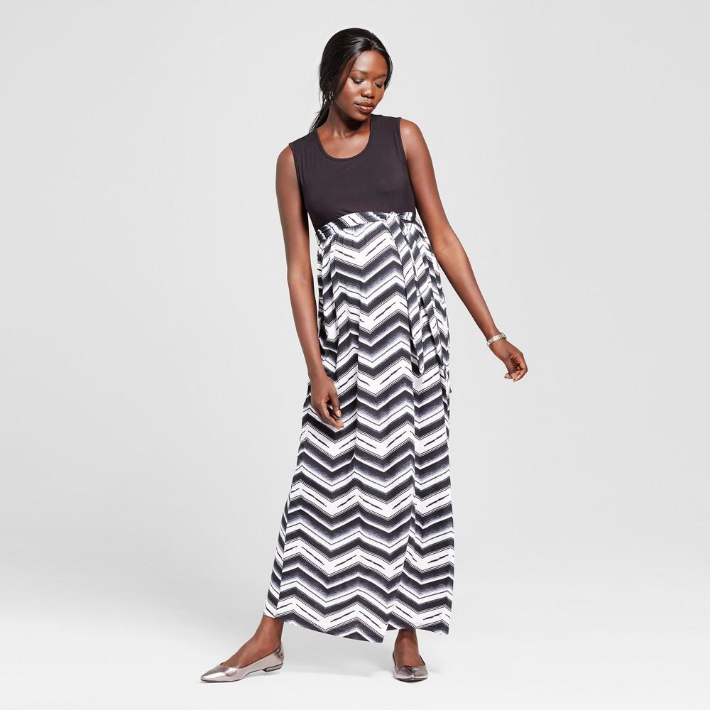 Maternity Chevron Print Sleeveless Maxi Dress Black M - Ma Cherie Maternity, Womens, Gray