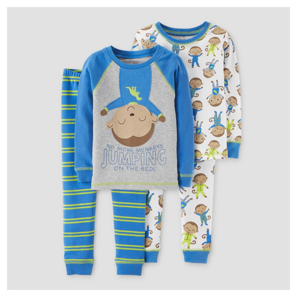 Toddler Boys 4pc Superhero Monkey Long Sleeve Cotton Pajama Set - Just One You Made by Carters Blue/Gray 4T