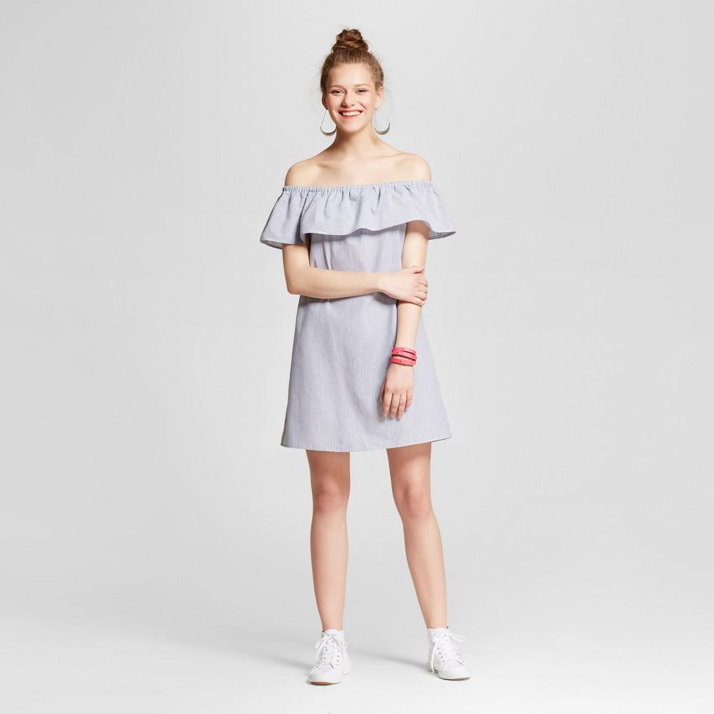 Womens Stripe Off the Shoulder Dress - Lots Of Love By Speechless (Juniors) Denim XS, Blue White