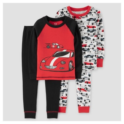 Toddler Boys' 4pc Racecars Long Sleeve Cotton Pajama Set - Just One You™ Made by Carter's® Red/Black 18M