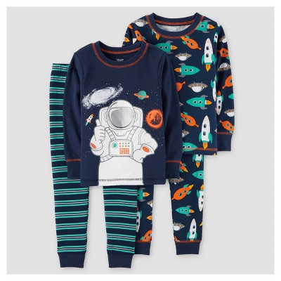 Baby Boys' 4pc Astronaut Long Sleeve Cotton Pajama Set - Just One You™ Made by Carter's® Navy 9M